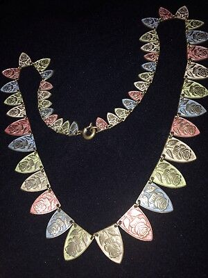 Mixed Colour  Deco Necklace Roses And Leaves Shaped Panels