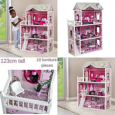 Girls Barbie Doll House Pink Decorated Dollhouse Furniture Dolls Kids Toys Gift