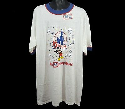 VTG 1980 Deadstock Walt Disney World 15th Anniversary Mickey Mouse Ringer Tee XL