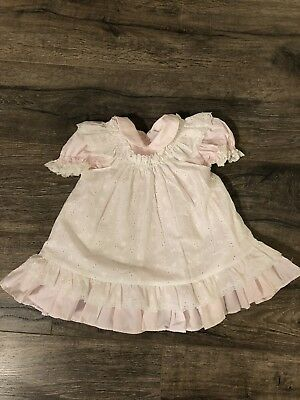 Bryan Size 18 Vintage Dress pink and white with Pinafore Lace and Rosettes