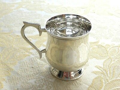 Vintage 'yeoman' Silver Plated Footed Christening Tankard    1390817/820