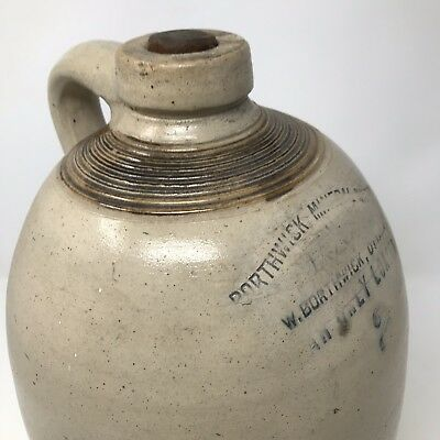 Antique 2 GALLON STONEWARE JUG With Handle BORTHWICK MINERAL WATER 14""