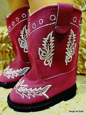 """BURGUNDY Suede Cowboy DOLL BOOTS SHOES fits 18"""" AMERICAN GIRL Doll Clothes"""
