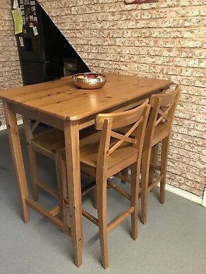 Ikea Stornas Pine Breakfast Bar Dining Table And 5 Stools Chairs