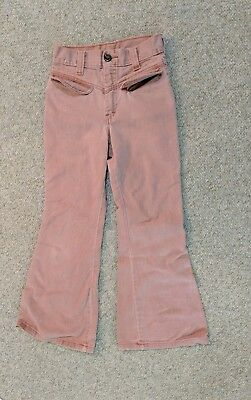 Vintage 70s Pink Faded Red Denim Pants Bell Bottom Button Front size 10 regularl