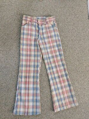 Vintage 70s Pastel Plaid Billy the Kid Pants Boys Bell Bottom Permanent Press