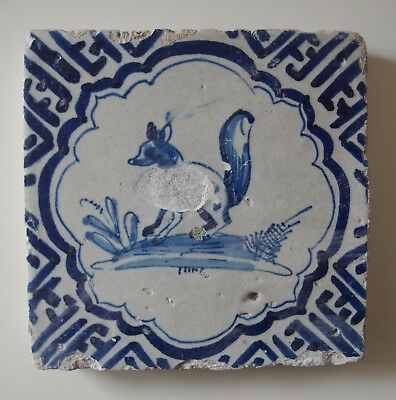 "17th Century DUTCH DELFT TILE ""SQUIRREL"""