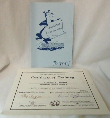 Hamm's Beer Employee Card & Training Document Signed Figge Public Relations