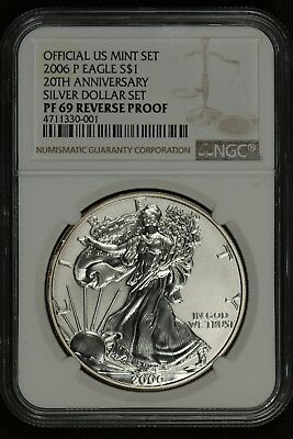 NGC PF69 2006-P REVERSE PROOF 20th ANNIVERSARY SET AMERICAN SILVER EAGLE DOLLAR