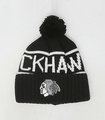 8b98ad7a8417f6 MITCHELL&NESS NHL Chicago Blackhawks White Reflective Pom Beanie Knit Hat  Cap