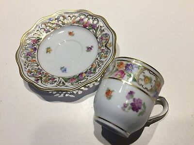 Schumann Chateau Dresden Flowers Demitasse Cup and Saucer