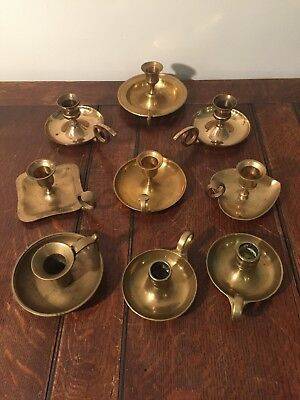 Mixed Lot of 9 Solid Brass Chamber Handle Taper Candlestick Holders Patina