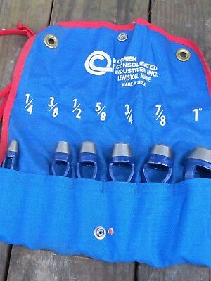 """O'Brien Consolidated Industries 6 Piece Arch Punch Set. 1/4"""" - 1"""" IN POUCH USA"""