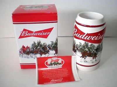 New 2016 Budweiser Holiday Beer Stein Christmas In Box With Coa