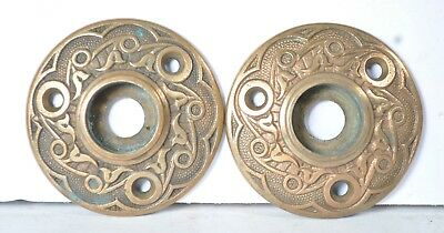 Antique Fancy Doorknob Cast Rosettes Victorian Eastlake Door Knob Backplate