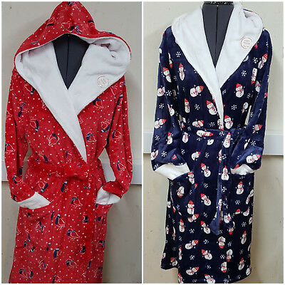 Laidies Fleece Dressing Gown Winter Womens Robe Santa Hood Christmas print