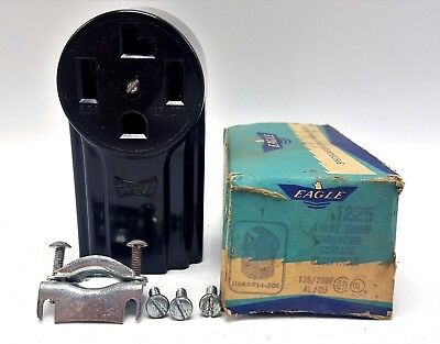 NOS Art Deco/Mid Century Eagle 1225 4 Wire 30A 125/250V Ground Receptacle Outlet