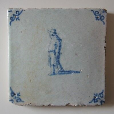 "17th Century DUTCH DELFT TILE ""GARLIC VENDOR"" (SCARCE!)"