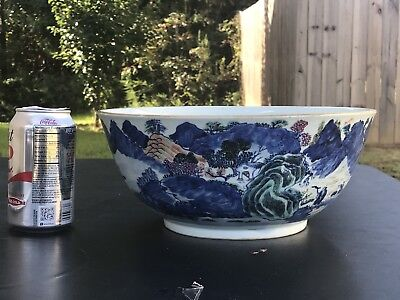19th Century Antique Chinese Export Famille Rose Porcelain  Punch Bowl