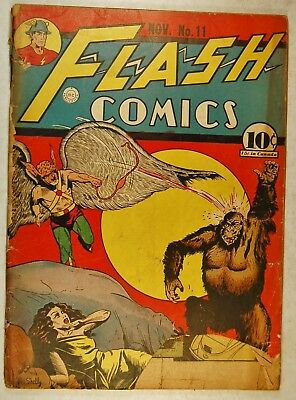 "Flash Comics #11 (Nov 1940, DC) Hawkman in ""Trouble in Suburbia"" low grade"