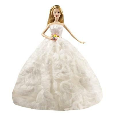 Peregrine White Floral Flower Wedding Dress with Lace for 11.5 inches Dolls