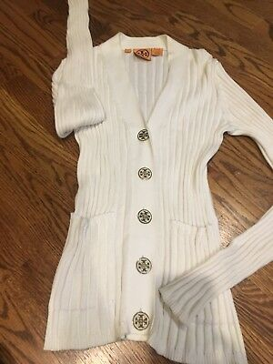 Tory Burch size S Simone ribbed cardigan sweater Gold White Logo Buttons Classic
