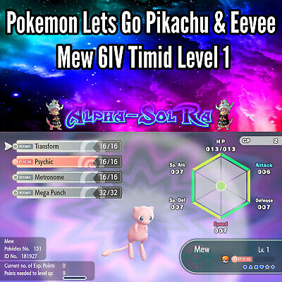 Pokemon Let's Go Pikachu & Eevee Non Shiny Mew 6IV Level 1 Timid 🔥