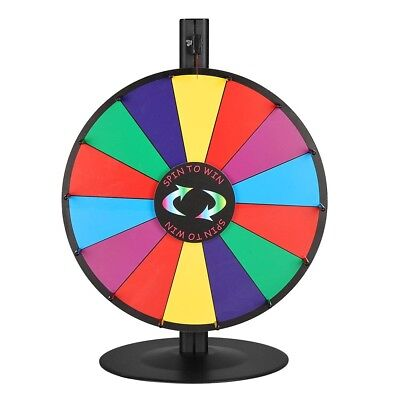 "WinSpin® 18"" Tabletop Color Prize Wheel of Fortune 14 Slot Steel Base Spin Game"
