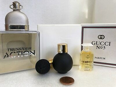 VTG Lot of 3 Women's Collectible MINI Perfumes TRUSSARDI ACTION,FERRE,GUCCI N°3