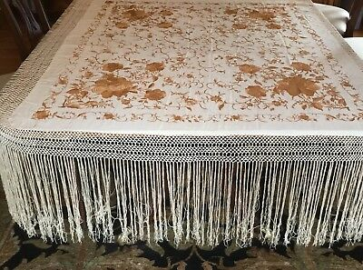 Lovely Vintage Silk Embroidered Gold Floral Piano Shawl/Scarf Fringe