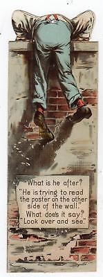 The Waterbury Watch*die Cut*2 Sided Color* Victorian Trade Card*man Climbs Wall