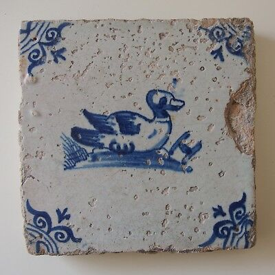 "17th Century DUTCH DELFT TILE ""SWIMMING DUCK"""