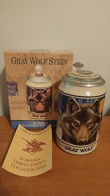 1993 Budweiser / Anheuser Busch Gray Wolf Endangered Species Lidded Stein