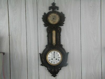 """Beautiful Antique Victorian Cast Iron 26"""" Wall Clock, Thermometer, Barometer"""