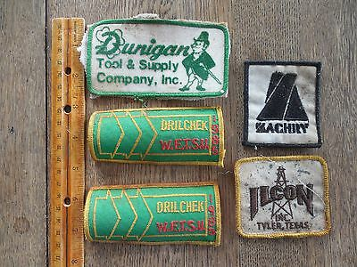 5 USED Oil/Gas/Tool Patches~Zachary~Ilcon~Drill Chek(1985)~Dunnigan Tool/Supply