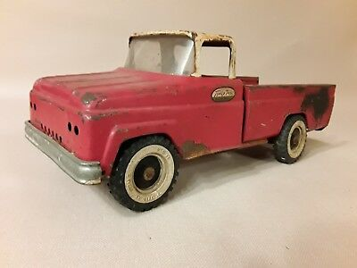 Vintage Tonka 1960s Red White Step Side Pickup Truck Toy Pressed Steel