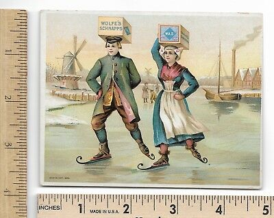 Wolfe's Schnapp's Dutch Ice Skaters 1893 Columbian Expo Alcoholic Bev Trade Card