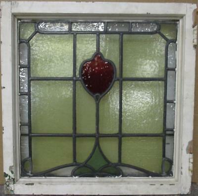 """OLD ENGLISH LEADED STAINED GLASS WINDOW Bordered Abstract Design 21.75"""" x 22"""""""