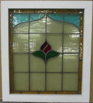 "MID SIZED OLD ENGLISH LEADED STAINED GLASS WINDOW Bordered Floral 21.5"" x 24.5"""
