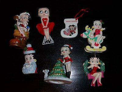 Lot of 7 Betty Boop Christmas Ornaments Stocking Tree Wreath Boot Reindeer