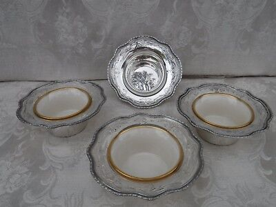 4pc Shreve & Co Sterling Silver Bowls with 3 Lenox Porcelain Liners