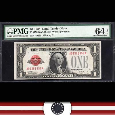 BRIGHT 1928 $1 Legal Tender Note *RED SEAL*  PMG 64 EPQ Fr 1500  A01381359A
