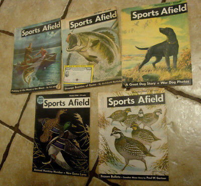 VTG Lot of 6 Sports Afield Magazine Back Issues: 1944 Hunting Fishing Great read