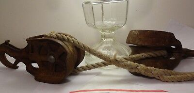 Antique Cast Iron Hay Barn Pulleys, Old, rustic, Primitive wood-Wheels.