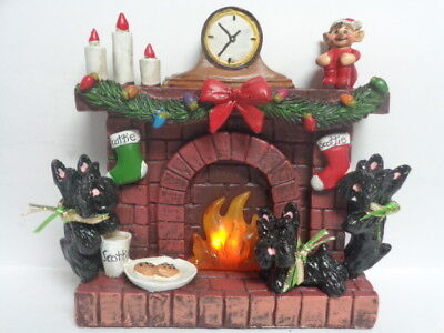 SCULPTED ART~~3 BLACK SCOTTISH Terriers WAITING FOR SANTA ON LIGHT UP FIREPLACE!