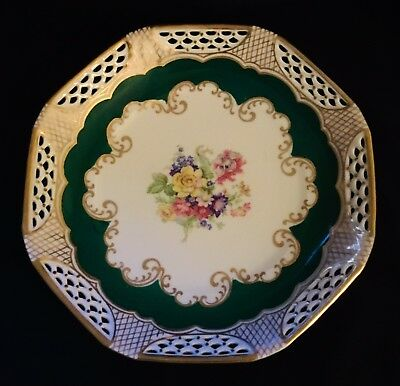 "Vintage Bjl Bavarian China Flower Plate Germany U.s. Zone 8.25"" (1366)."