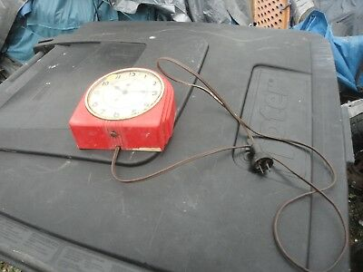 1950s Vintage Red Atomic Telechron Clock GE General Electric Model 2h07 50s 40s