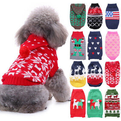 Small Pets Dogs Cat Puppy Sweater Xmas Coat Jacket Warm Costume Apparel Clothes