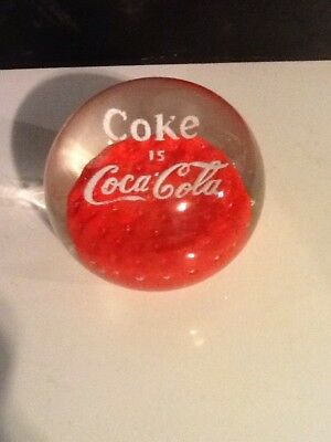 Coca Cola vintage Paperweight. Coke Collectable glass Small but heavy Rare lot 1