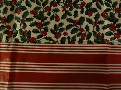 """Longaberger 24"""" Reversible Accent Square Berry Red Stripe Traditional Holly New"""